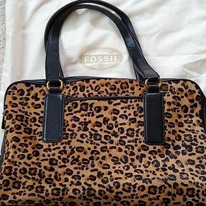 Fossil leather leopard/cheeetah print satchel